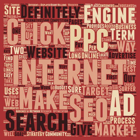 quite time: JP PPC and SEO text background wordcloud concept
