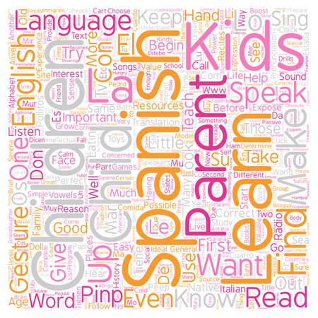 Kids Can Learn Spanish text background wordcloud concept