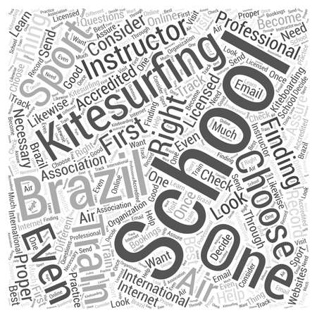 Kitesurfing school brazil Word Cloud Concept Illustration