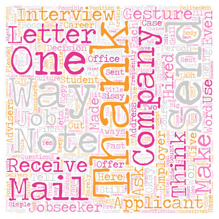 Jobseeker FAQs On Thank You Notes text background wordcloud concept
