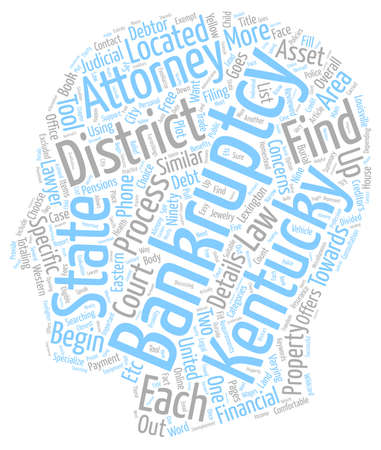 Kentucky Bankruptcy Districts And Details text background wordcloud concept Illustration
