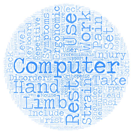 Learn how to Deal with Repetitive Strain Injury RSI text background wordcloud concept Ilustrace