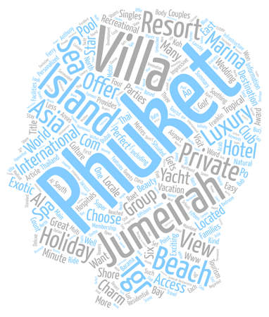 Jumeirah Phuket text background wordcloud concept Иллюстрация