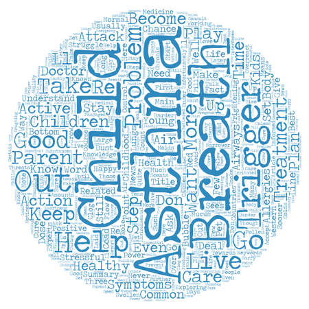 Kids with Asthma Help Them Stay Healthy text background wordcloud concept 向量圖像