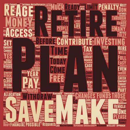 Retirement plan text background wordcloud concept Ilustração