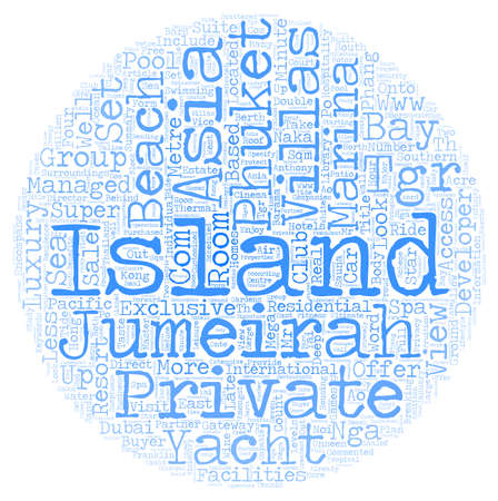 Jumeirah private island phuket text background wordcloud concept