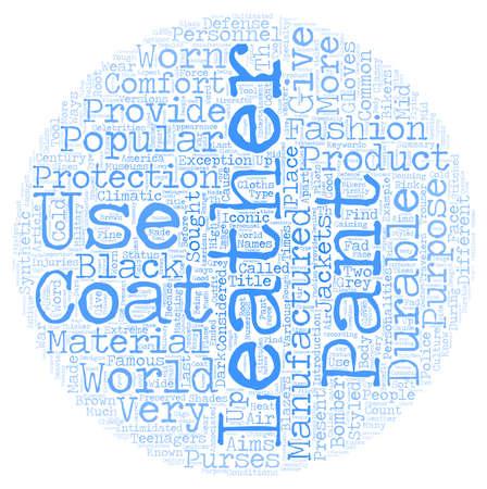 Pantalones de cuero y abrigos de cuero concepto de fondo de texto de wordcloud Foto de archivo - 73443538
