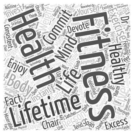 healthier: lifetime fitness Word Cloud Concept