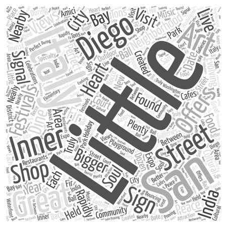 Weinig Italië San Diego Word Cloud Concept Stock Illustratie