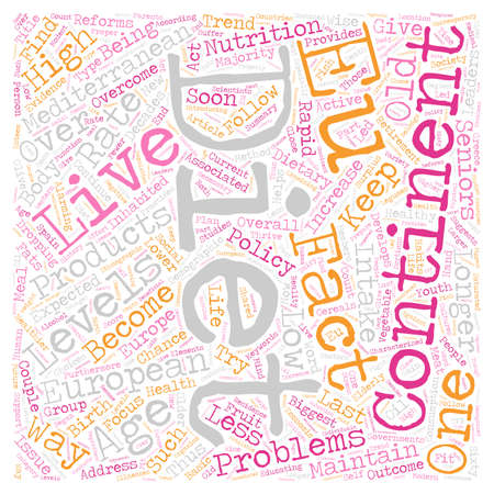 Live Longer With The Mediterranean Diet text background wordcloud concept