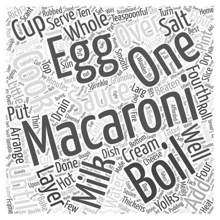MACARONI RECIPES Word Cloud Concept Ilustração