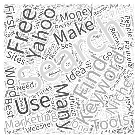 Making Money with Articles Using the Yahoo Search Marketing Word Cloud Concept Stock Vector - 73563353