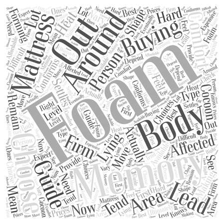 conforms: Memory Foam Mattress Buying Guide Word Cloud Concept