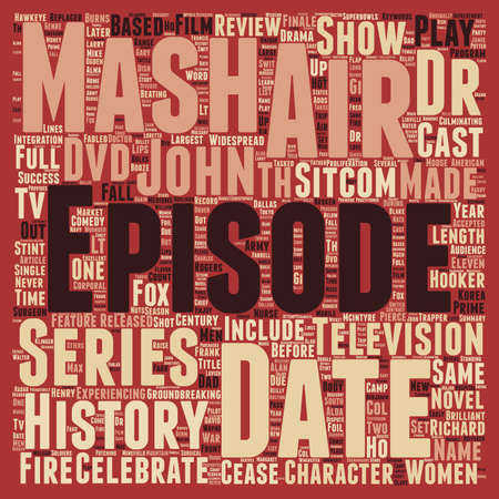 Mash DVD Review text background wordcloud concept Illustration