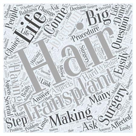 Making the Decision to Have Hair Transplant Surgery Word Cloud Concept Illusztráció