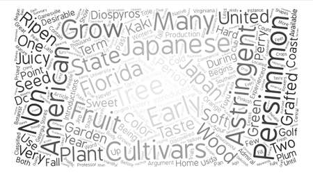 History Of Persimmons Diospyros Kaki L Word Cloud Concept Text Background Ilustração