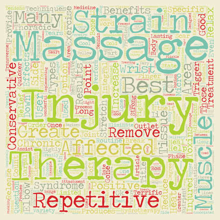 Massage Therapy And Repetitive Strain Injuries text background wordcloud concept