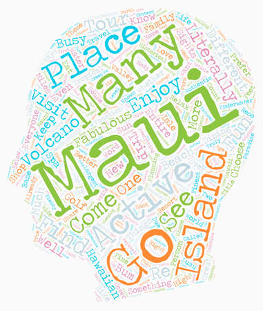 Maui Fun For Everyone text background wordcloud concept
