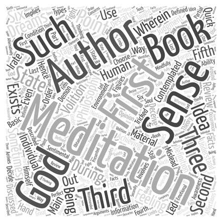 six point: Meditation on first philosophy Word Cloud Concept