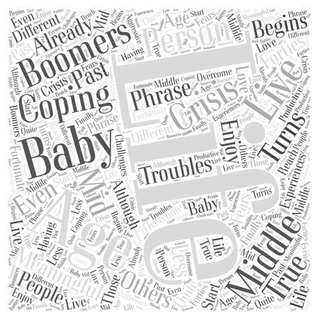 boomers: Middle aged baby boomers Word Cloud Concept Illustration