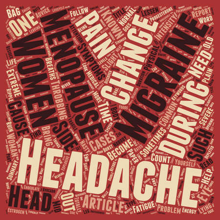 Menopause and Headaches text background wordcloud concept