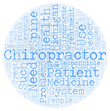 Michigan chiropractor text background wordcloud concept Illustration