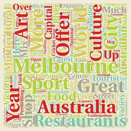 Melbourne The Cosmopolitan Capital Of Australia text background wordcloud concept