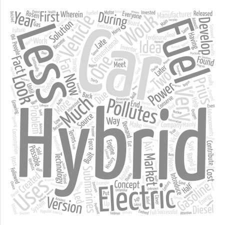 finally: history of hybrid car text background wordcloud concept