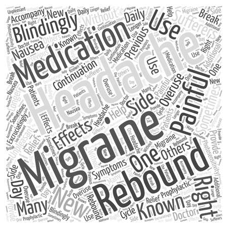 Migraines and Rebound Headaches Word Cloud Concept Illustration