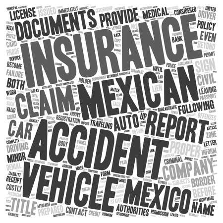 Mexican Car Insurance What To Do If You Get Into An Accident text background word cloud. Illustration