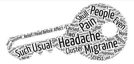 Headache And Migraine Pain Relief Through Hypnotherapy text background word cloud.