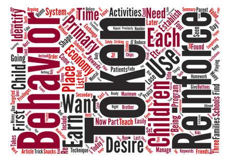 あなたの子の動作テキスト背景単語クラウド コンセプトを形に、トークン ・ エコノミーを使用するには、方法