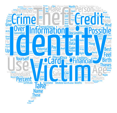 identity theft text background wordcloud concept. Stock Photo