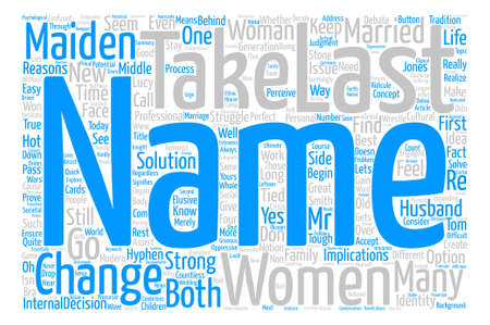 Married or Maiden Name Behind the Last Name Change text background wordcloud concept