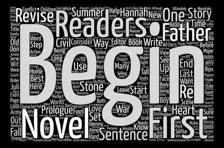 revised: How To Write A Strong Start For Your Novel text background word cloud concept
