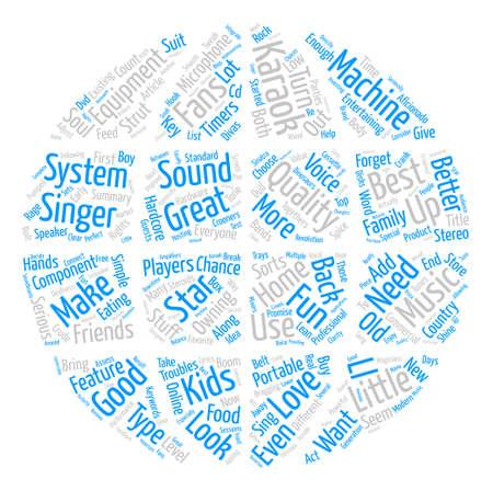 Karaoke Equipment Word Cloud Concept Text Background Illustration
