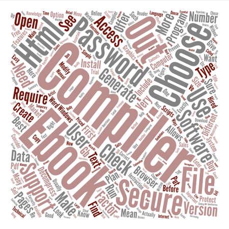 How to choose an eBook Compiler text background word cloud concept Ilustração