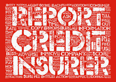 continuation: Insurance And Your Credit Report Part II Word Cloud Concept Text Background