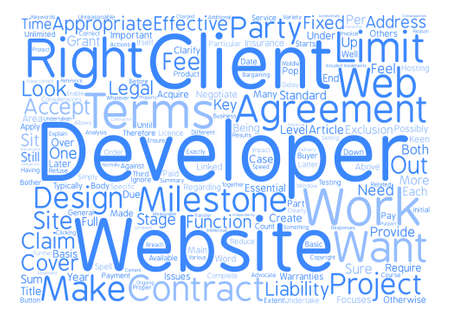 considerations: Key Considerations in Web Site Development Agreements text background word cloud concept Illustration