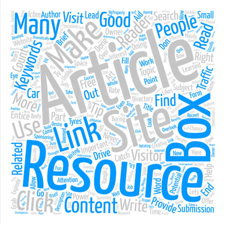 Make your resource box an ICBM and explode your clicks text background word cloud concept Illustration