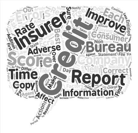 continuation: Insurance And Your Credit Report Part II text background word cloud concept