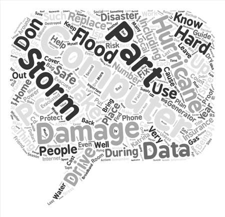 Hurricane Proof Computer Word Cloud Concept Text Background. Stock Photo