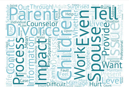 impacted: How to Tell Your Children About Divorce text background wordcloud concept