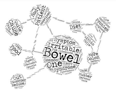 bowel: Irritable Bowel Syndrome Cause and Treatment text background word cloud concept Illustration