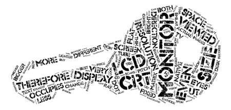 crisper: LCD vs CRT Monitor Comparison text background word cloud concept Illustration