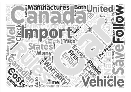 How To Import A Car Into Canada text background word cloud concept