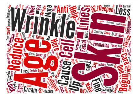 How To Reduce Wrinkles And Look Years Younger text background word cloud concept Vektorové ilustrace