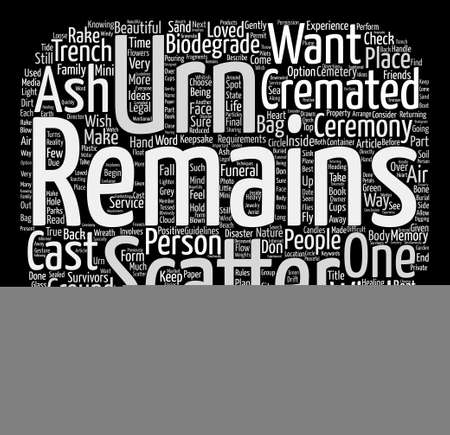 cremated: How to Scatter Cremated Remains Ashes Word Cloud Concept Text Background Illustration