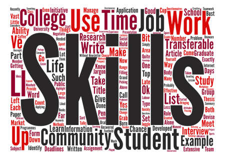 transferable: Job Applications Identify Your Transferable Skills text background word cloud concept