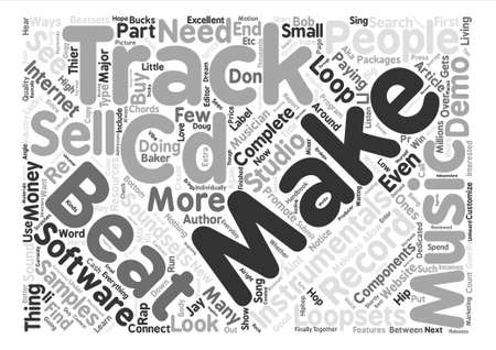 Make Your Own Beats Instrumentals Tracks and Demo CDs text background word cloud concept